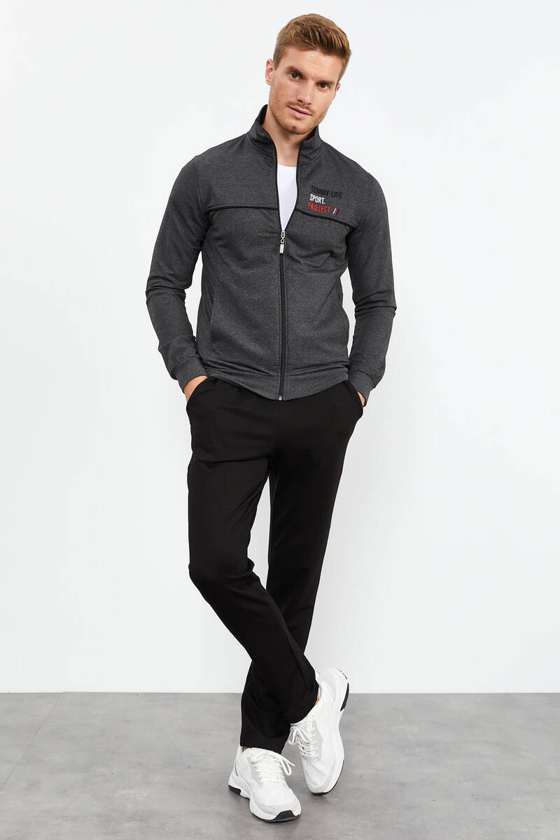 TommyLife - Tommy Life Toptan Antrasit Melanj-Siyah Erkek Dik Yaka Fermuarlı Slim Fit Klasik Paça Eşofman Takımı-85141_01