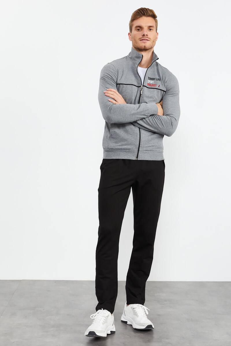 TommyLife - Tommy Life Toptan Gri Melanj-Siyah Erkek Dik Yaka Fermuarlı Slim Fit Klasik Paça Eşofman Takımı-85141_01