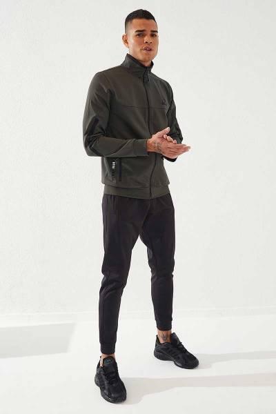 TommyLife - Tommylife Toptan Sport Klasik Cep Detaylı Haki-Siyah Dalgıç Erkek Eşofman Takım