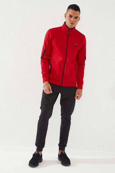 TommyLife - Tommylife Toptan Sport Klasik Cep Detaylı Kırmızı-Siyah Dalgıç Erkek Eşofman Takım