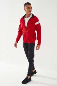 TommyLife - Tommylife Toptan Sport Silver Reflektör Göğüs Garnili Kırmızı-Siyah Dalgıç Erkek Eşofman Takım
