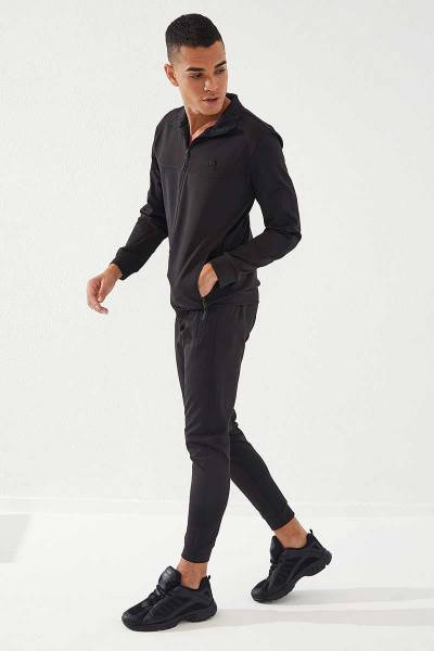 TommyLife - Tommylife Toptan Sport Klasik Cep Detaylı Siyah-Siyah Dalgıç Erkek Eşofman Takım