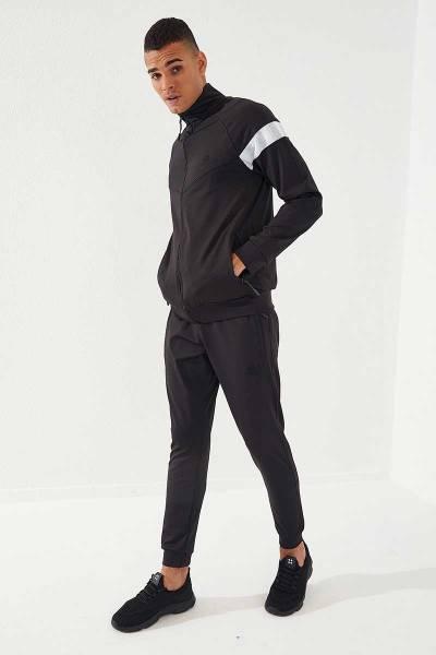 TommyLife - Tommylife Toptan Sport Silver Reflektör Göğüs Garnili Siyah-Siyah Dalgıç Erkek Eşofman Takım