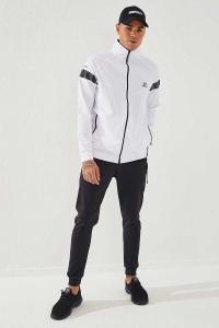 TommyLife - Tommylife Toptan Sport Silver Reflektör Göğüs Garnili Beyaz-Siyah Dalgıç Erkek Eşofman Takım
