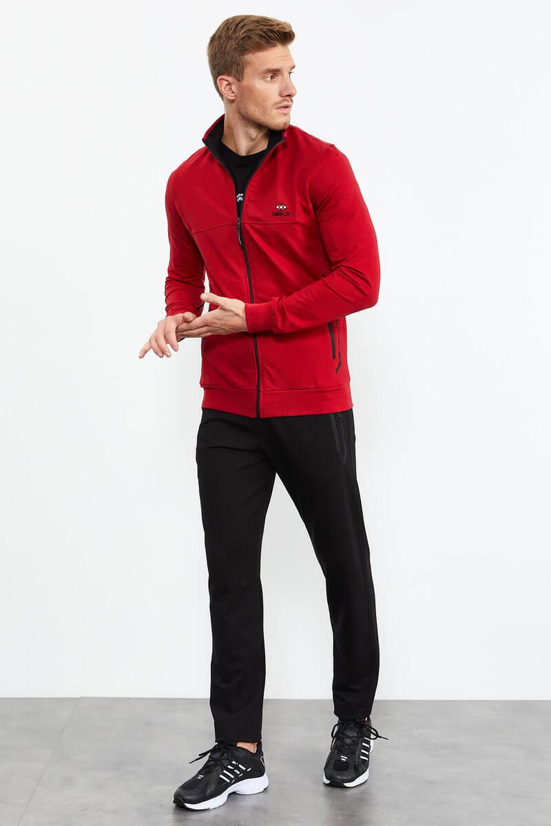 TommyLife - Tommy Life Toptan Kırmızı-Siyah Erkek Dik Yaka Fermuarlı Standart Kalıp Klasik Paça Eşofman Takımı-85152