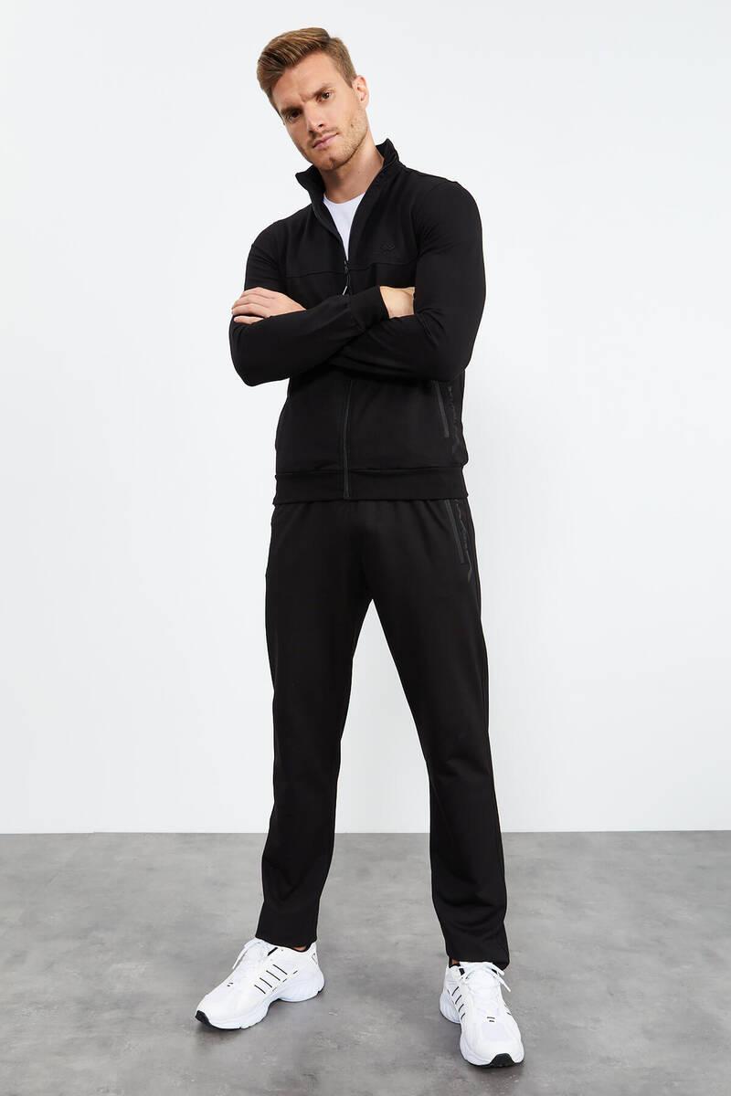 TommyLife - Tommy Life Toptan Siyah-Siyah Erkek Dik Yaka Fermuarlı Standart Kalıp Klasik Paça Eşofman Takımı-85152