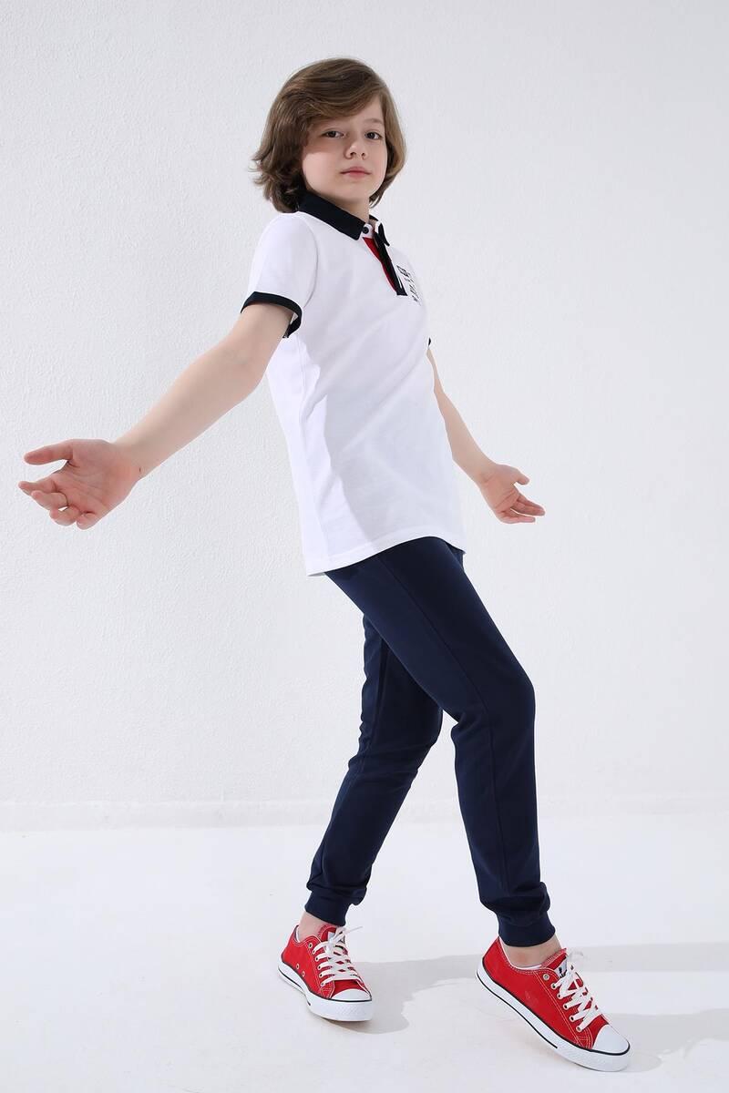 TommyLife - Tommy Life Toptan İndigo Erkek Çocuk Jogger Fermuarlı Cep Standart Kalıp Manşetli Eşofman Alt - 64042