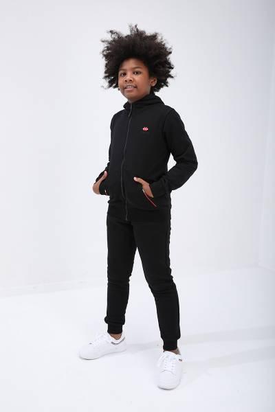 TommyLife - Tommy Life Toptan Siyah Erkek Çocuk Kapüşonlu Dar Kesim Manşetli Eşofman Takım-10713