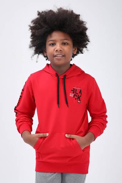 TommyLife - Tommy Life Toptan Kırmızı Erkek Çocuk Nakış Detaylı Dar Kalıp Kapüşonlu Sweatshirt-10715