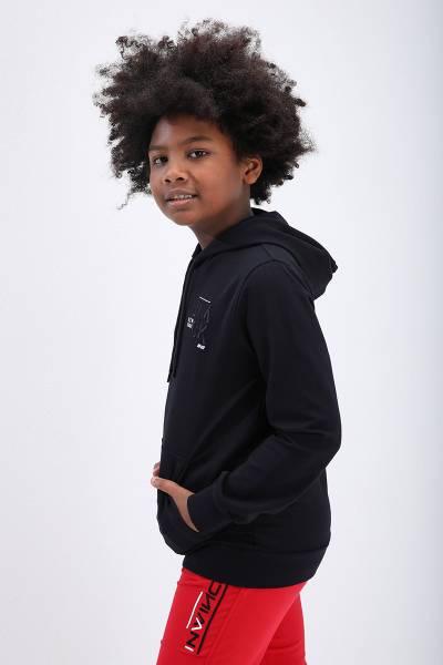 TommyLife - Tommy Life Toptan Lacivert Erkek Çocuk Nakış Detaylı Dar Kesim Kapüşonlu Sweatshirt