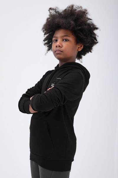 TommyLife - Tommy Life Toptan Siyah Erkek Çocuk Nakış Detaylı Dar Kesim Kapüşonlu Sweatshirt
