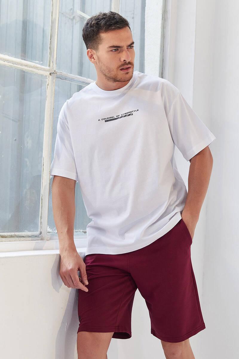 TommyLife - Tommy Life Toptan Beyaz Erkek Yazı Baskılı Oversize O Yaka T-Shirt - 87984