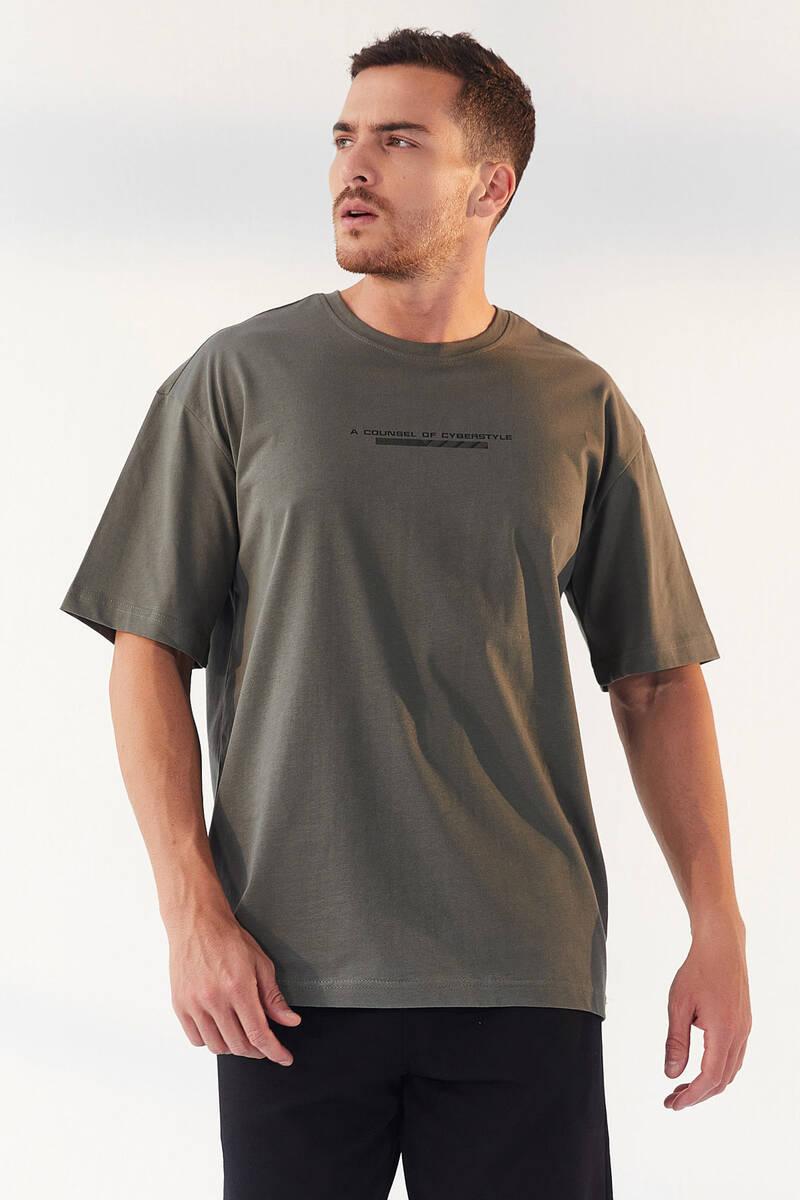 TommyLife - Tommy Life Toptan Çağla Erkek Yazı Baskılı Oversize O Yaka T-Shirt - 87984