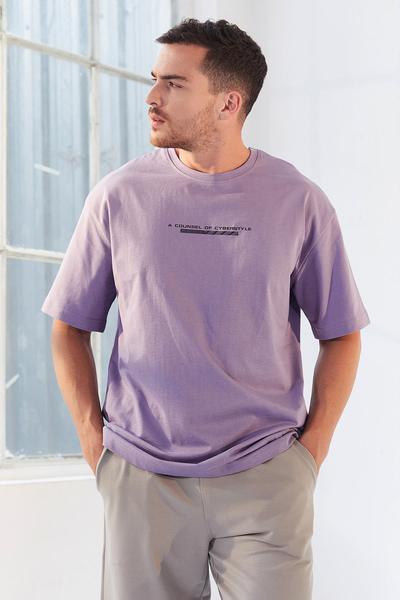 TommyLife - Tommy Life Toptan Eflatun Erkek Yazı Baskılı Oversize O Yaka T-Shirt - 87984