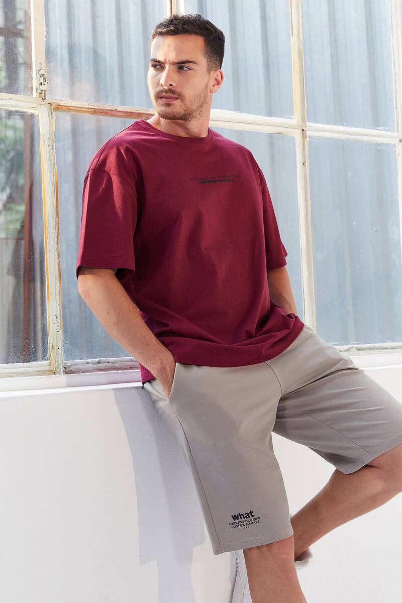 TommyLife - Tommy Life Toptan Erguvan Erkek Yazı Baskılı Oversize O Yaka T-Shirt - 87984
