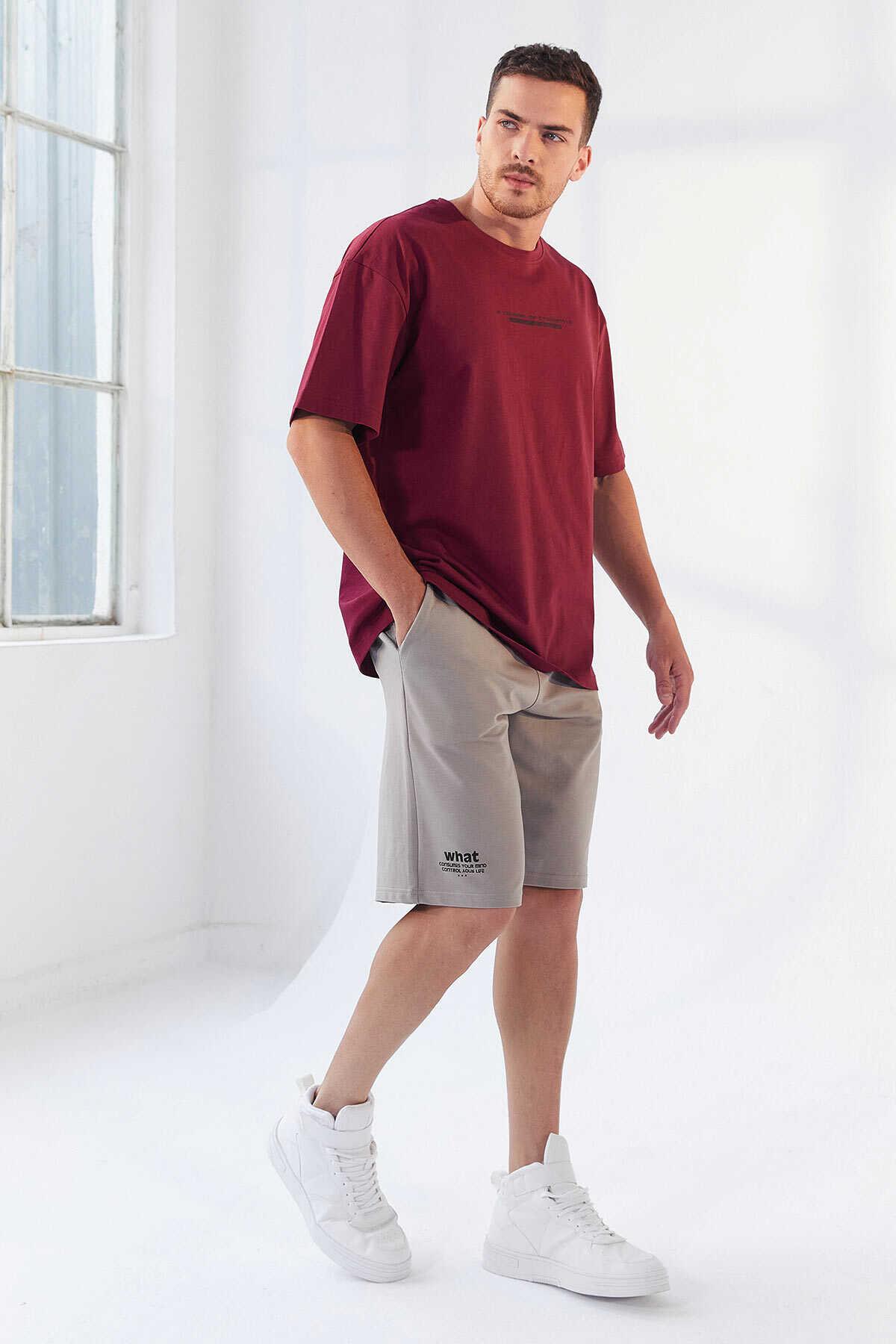 Tommy Life Toptan Erguvan Erkek Yazı Baskılı Oversize O Yaka T-Shirt - 87984