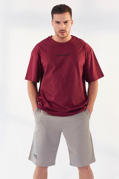 Tommy Life Toptan Erguvan Erkek Yazı Baskılı Oversize O Yaka T-Shirt - 87984 - Thumbnail