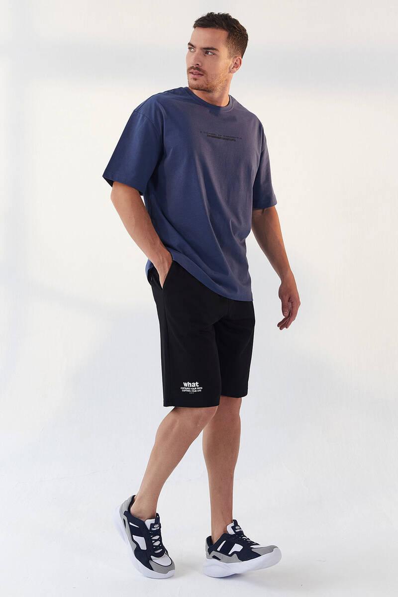 TommyLife - Tommy Life Toptan Petrol Erkek Yazı Baskılı Oversize O Yaka T-Shirt - 87984
