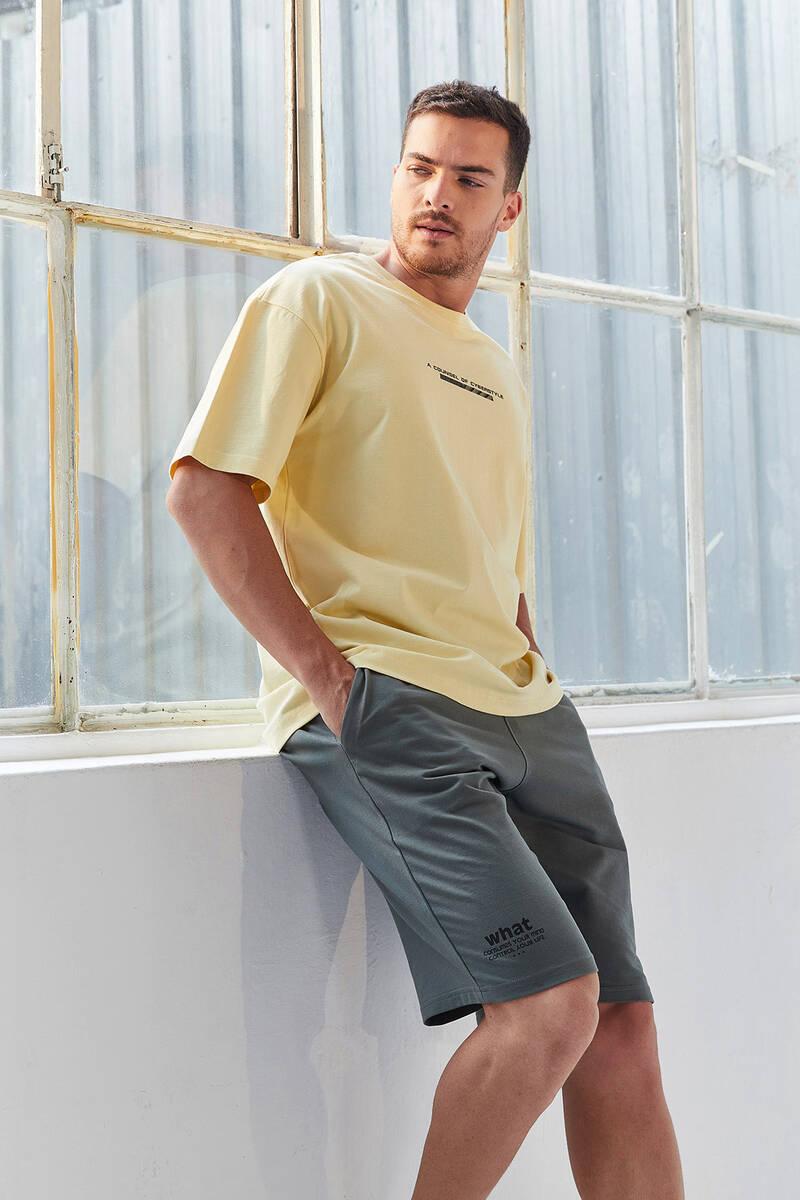 TommyLife - Tommy Life Toptan Sarı Erkek Yazı Baskılı Oversize O Yaka T-Shirt - 87984