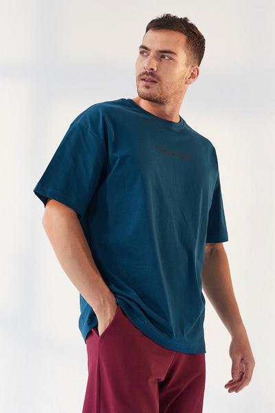 TommyLife - Tommy Life Toptan Zümrüt Erkek Yazı Baskılı Oversize O Yaka T-Shirt - 87984