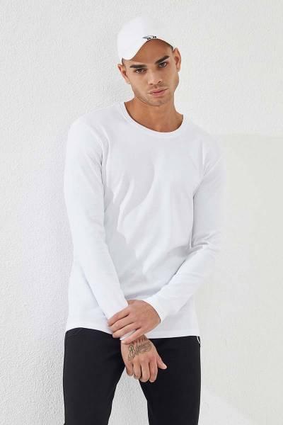 TommyLife - Tommy Life Toptan Beyaz Erkek Basic Uzun Kol Standart Kalıp O Yaka Sweatshirt-87841
