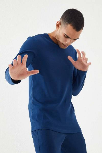 TommyLife - Tommy Life Toptan İndigo Erkek Basic Uzun Kol Standart Kalıp O Yaka Sweatshirt-87841