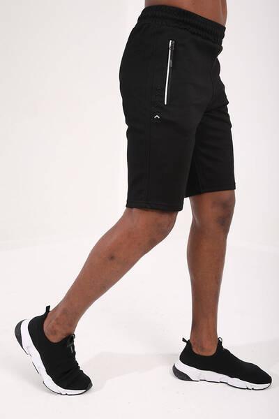TommyLife - Tommy Life Toptan Siyah Erkek Fermuar Cepli Nakış Detaylı Standart Kalıp Şort
