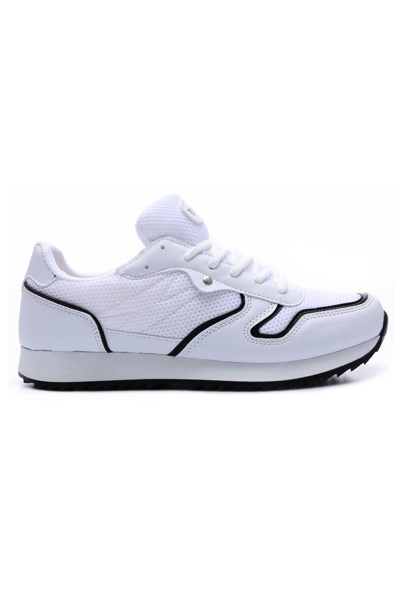 TommyLife - Tommy Life Toptan Beyaz Erkek Bağcıklı File Detaylı Yüksek Taban Spor Ayakkabı-89061