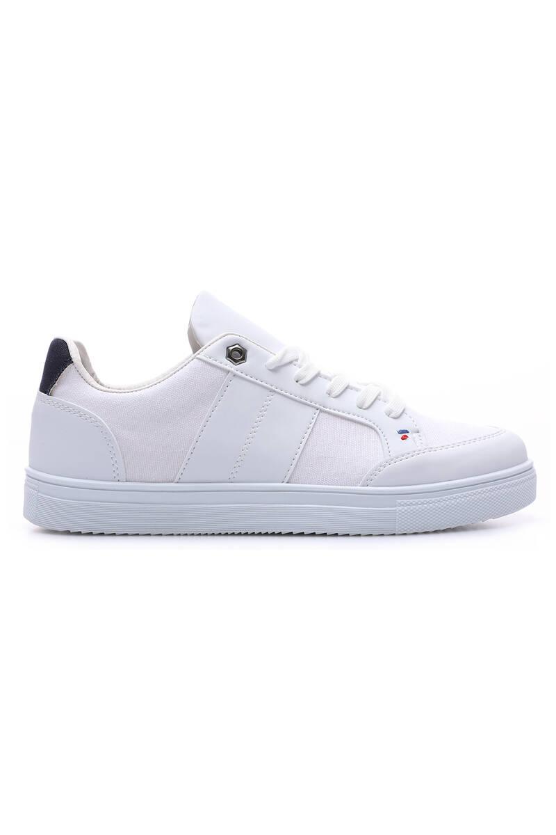 TommyLife - Tommy Life Toptan Beyaz Erkek Bağcıklı Suni Deri Detaylı Spor Ayakkabı-89065