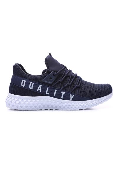 Tommy Life Toptan Lacivert -Beyaz Erkek Yazı Detaylı Fileli Bağcıklı Yüksek Taban Spor Ayakkabı - 89044_1 - Thumbnail