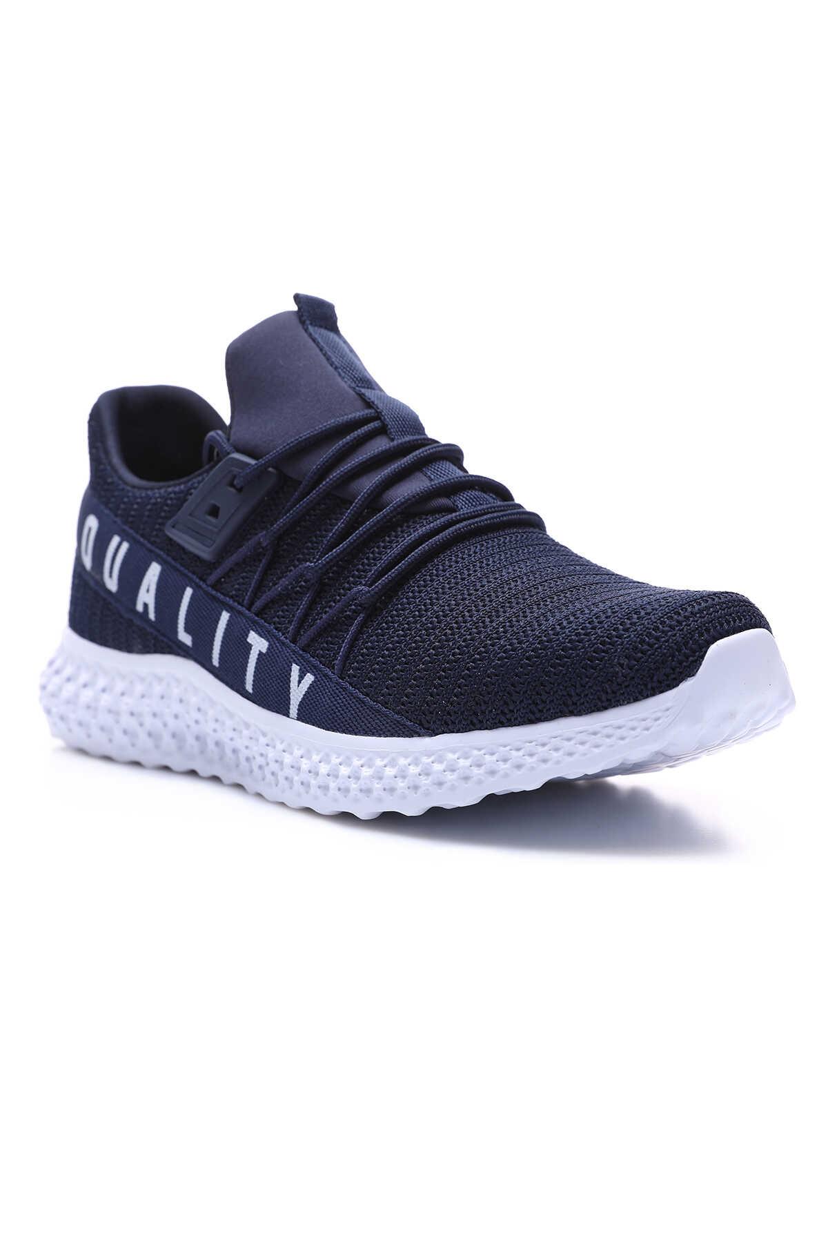 Tommy Life Toptan Lacivert -Beyaz Erkek Yazı Detaylı Fileli Bağcıklı Yüksek Taban Spor Ayakkabı - 89044_1