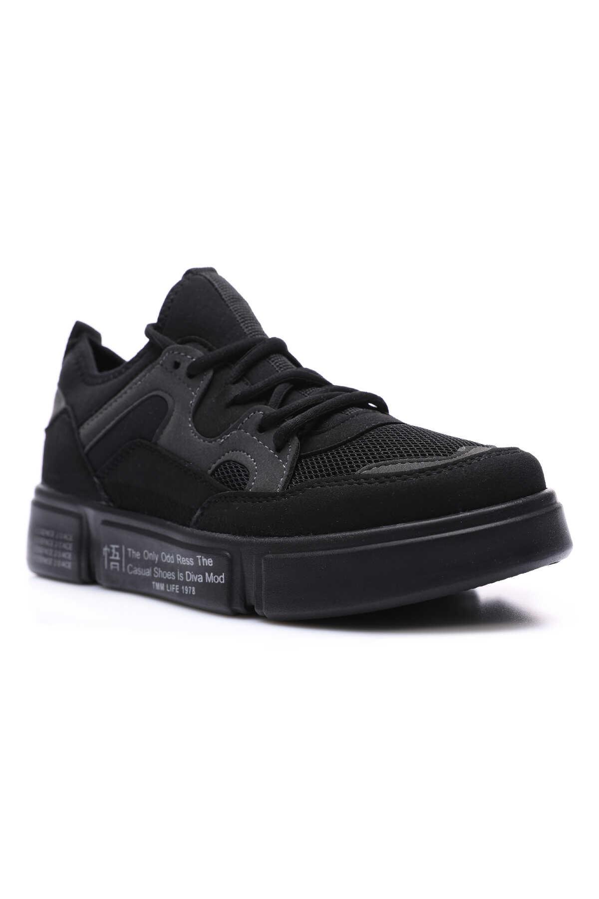 Tommy Life Toptan Siyah Erkek Renkli Bağcıklı Yüksek Taban Spor Ayakkabı - 89029_01