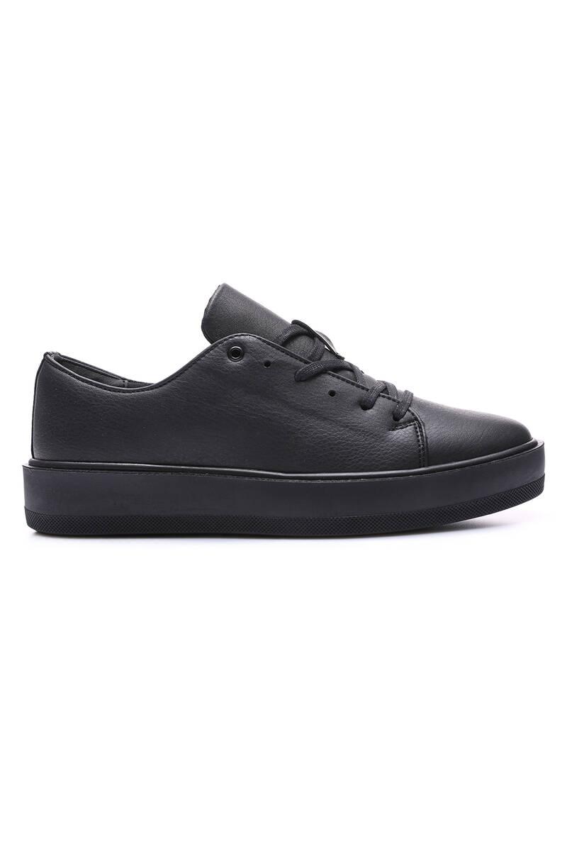 TommyLife - Tommy Life Toptan Siyah Erkek Bağcıklı Suni Deri Spor Ayakkabı - 89051_1