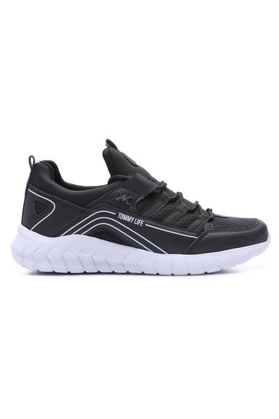 TommyLife - Tommy Life Toptan Siyah-Beyaz Erkek Bağcıklı Yüksek Taban Spor Ayakkabı - 89043_1