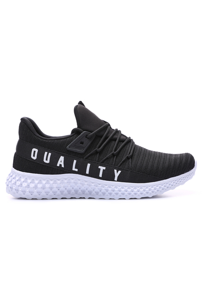 TommyLife - Tommy Life Toptan Siyah-Beyaz Erkek Yazı Detaylı Fileli Bağcıklı Yüksek Taban Spor Ayakkabı - 89044_1