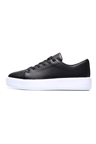 Tommy Life Toptan Siyah-Beyaz Erkek Bağcıklı Suni Deri Spor Ayakkabı - 89051_1 - Thumbnail