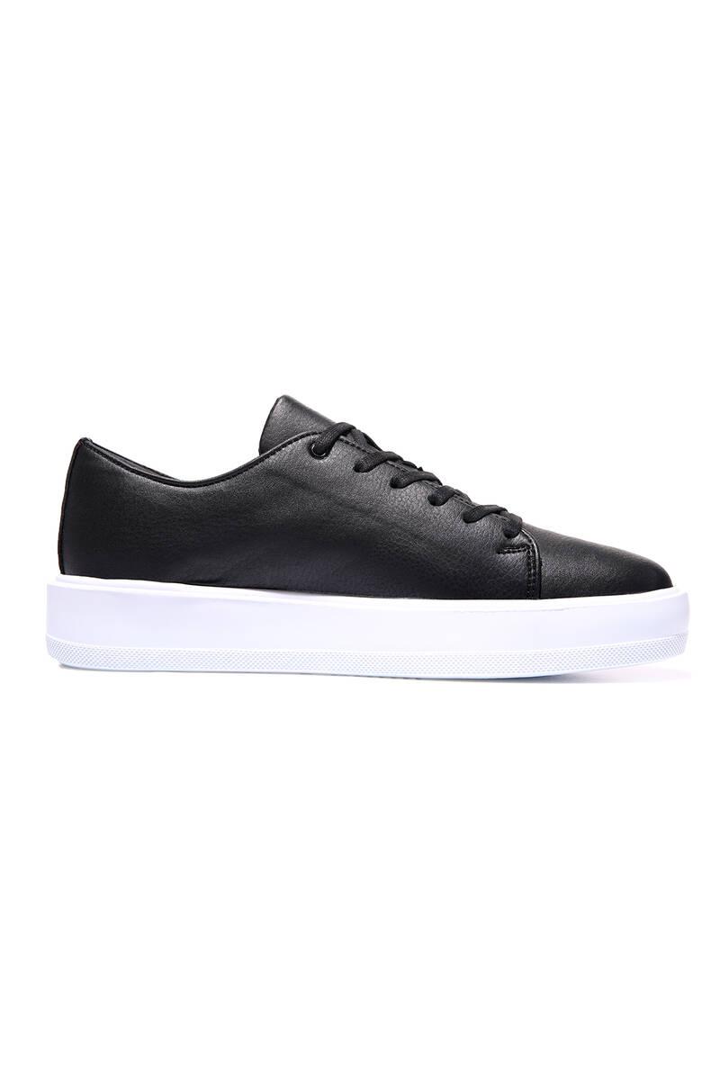 TommyLife - Tommy Life Toptan Siyah-Beyaz Erkek Bağcıklı Suni Deri Spor Ayakkabı - 89051_1