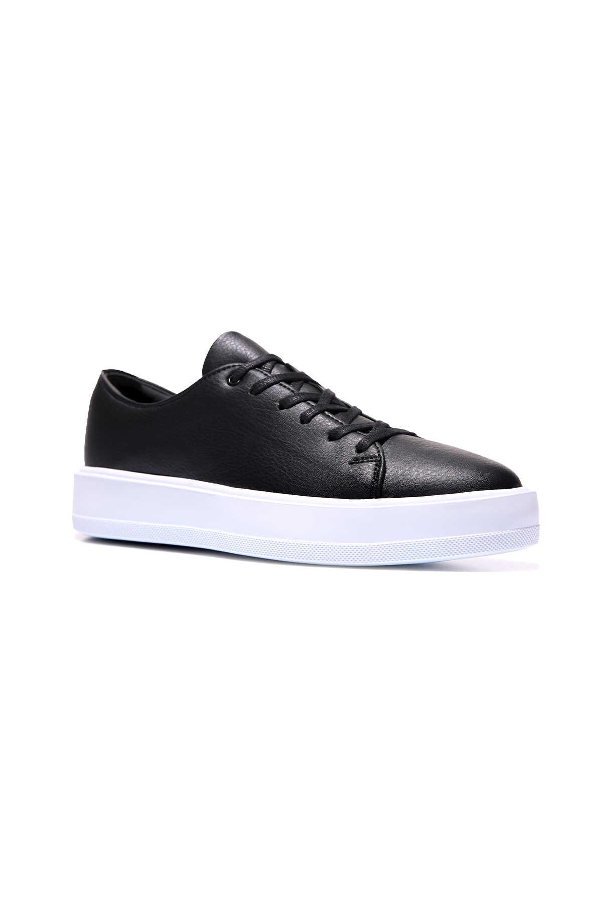 Tommy Life Toptan Siyah-Beyaz Erkek Bağcıklı Suni Deri Spor Ayakkabı - 89051_1