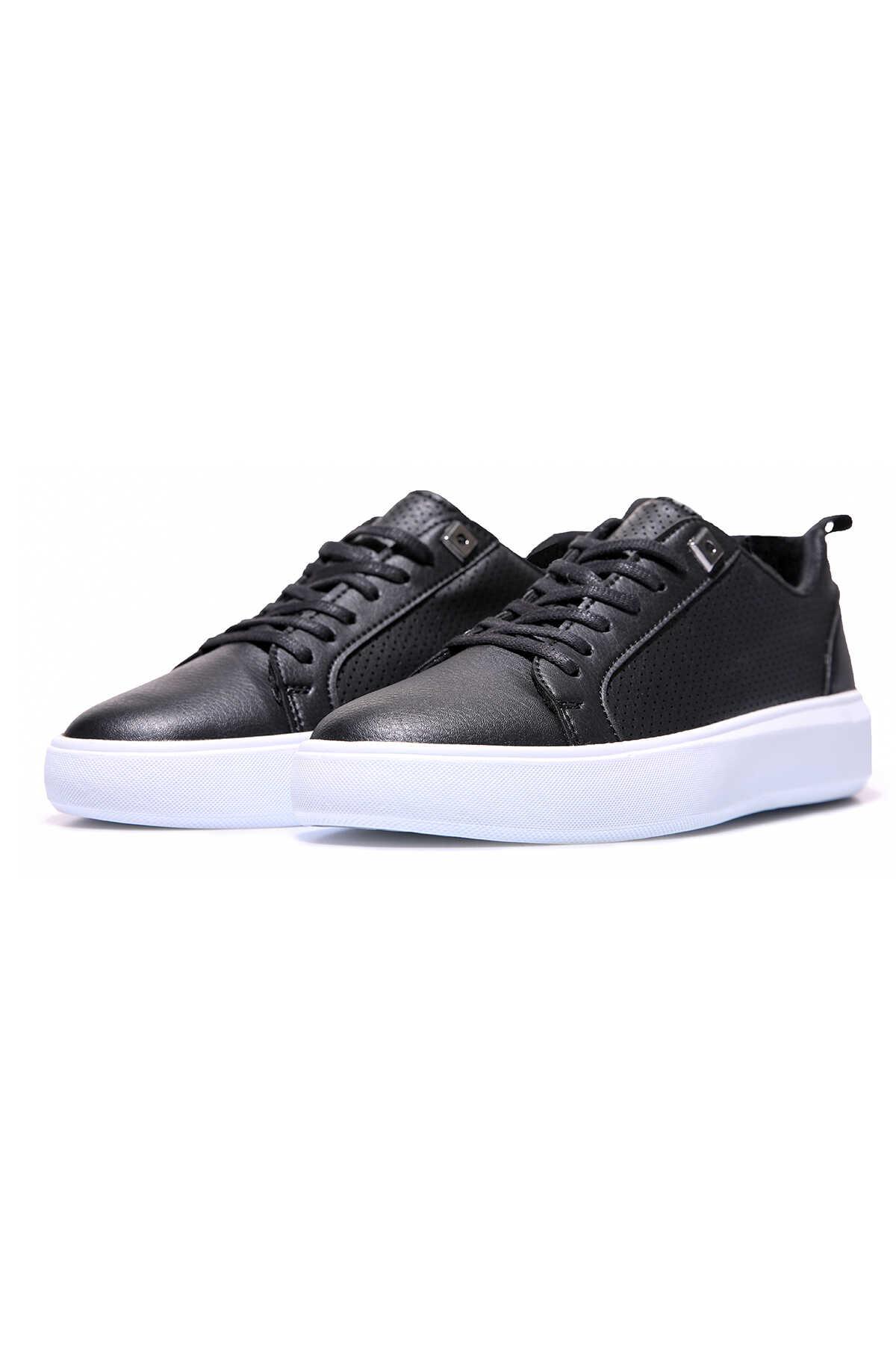 Tommy Life Toptan Siyah - Beyaz Erkek Delikli Bağcıklı Suni Deri Spor Ayakkabı - 89055_01