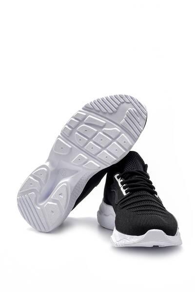 TommyLife - Tommy Life Toptan Siyah-Beyaz Erkek Yazı Detaylı Bağcıklı Yüksek Taban Spor Ayakkabı - 89056_01