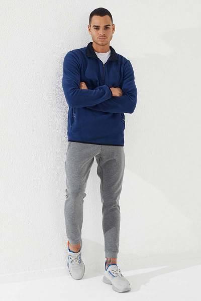 TommyLife - Tommy Life Toptan Dik Yaka Polar İndigo Yarım Fermuarlı Erkek Sweatshirt