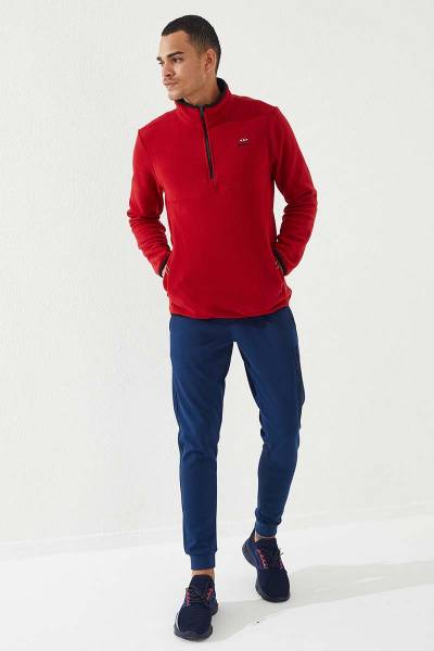 TommyLife - Tommy Life Toptan Dik Yaka Polar Kırmızı Yarım Fermuarlı Erkek Sweatshirt