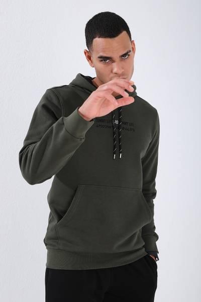 TommyLife - Tommy Life Toptan Haki Erkek Kanguru Cep Standart Kalıp Kapüşonlu Sweatshirt-87847