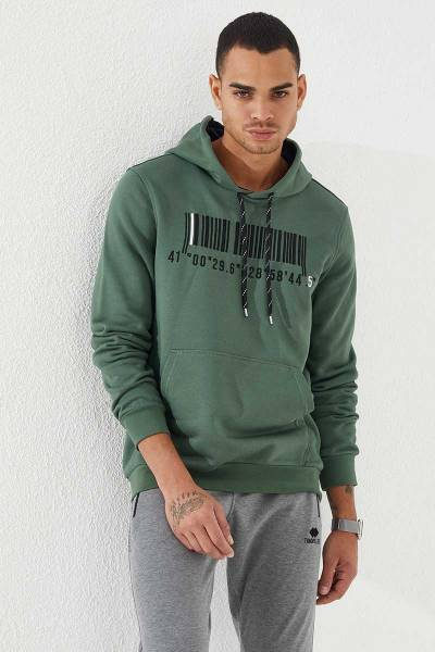 TommyLife - Tommy Life Toptan Kapüşonlu Koordinat Detaylı Yeşil Erkek Sweatshirt