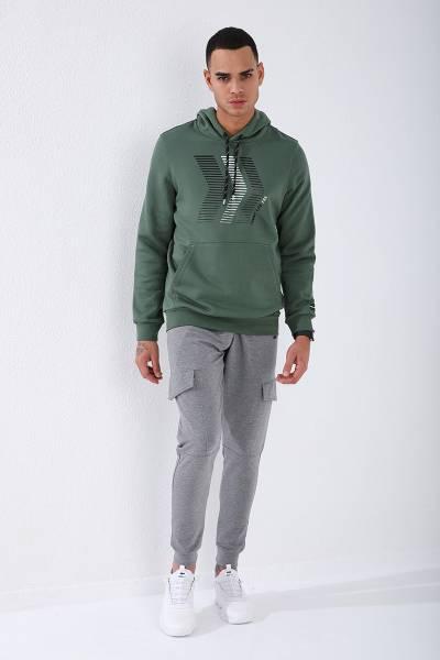 TommyLife - Tommy Life Toptan Yeşil Erkek Ön Baskılı Standart Kalıp Kapüşonlu Sweatshirt-87844