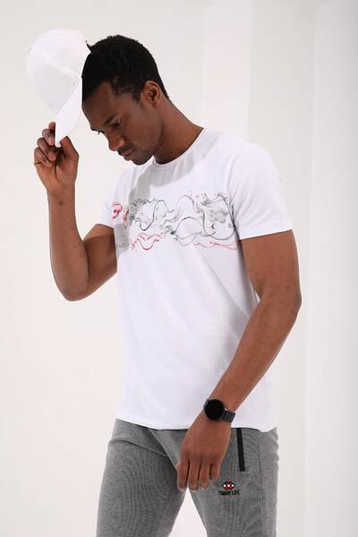 TommyLife - Tommy Life Toptan Beyaz Erkek Renkli Desen Baskılı Standart Kalıp O Yaka T-Shirt - 87906