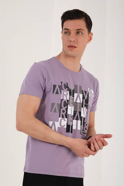 TommyLife - Tommy Life Toptan Eflatun Erkek Eskitme Yazı Baskılı Rahat Kalıp O Yaka T-Shirt - 87910