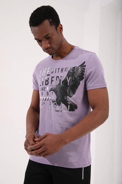 TommyLife - Tommy Life Toptan Eflatun Erkek Kartal Baskılı Standart Kalıp O Yaka T-Shirt - 87932