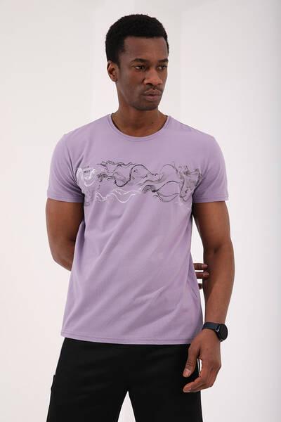 TommyLife - Tommy Life Toptan Eflatun Erkek Renkli Desen Baskılı Standart Kalıp O Yaka T-Shirt - 87906