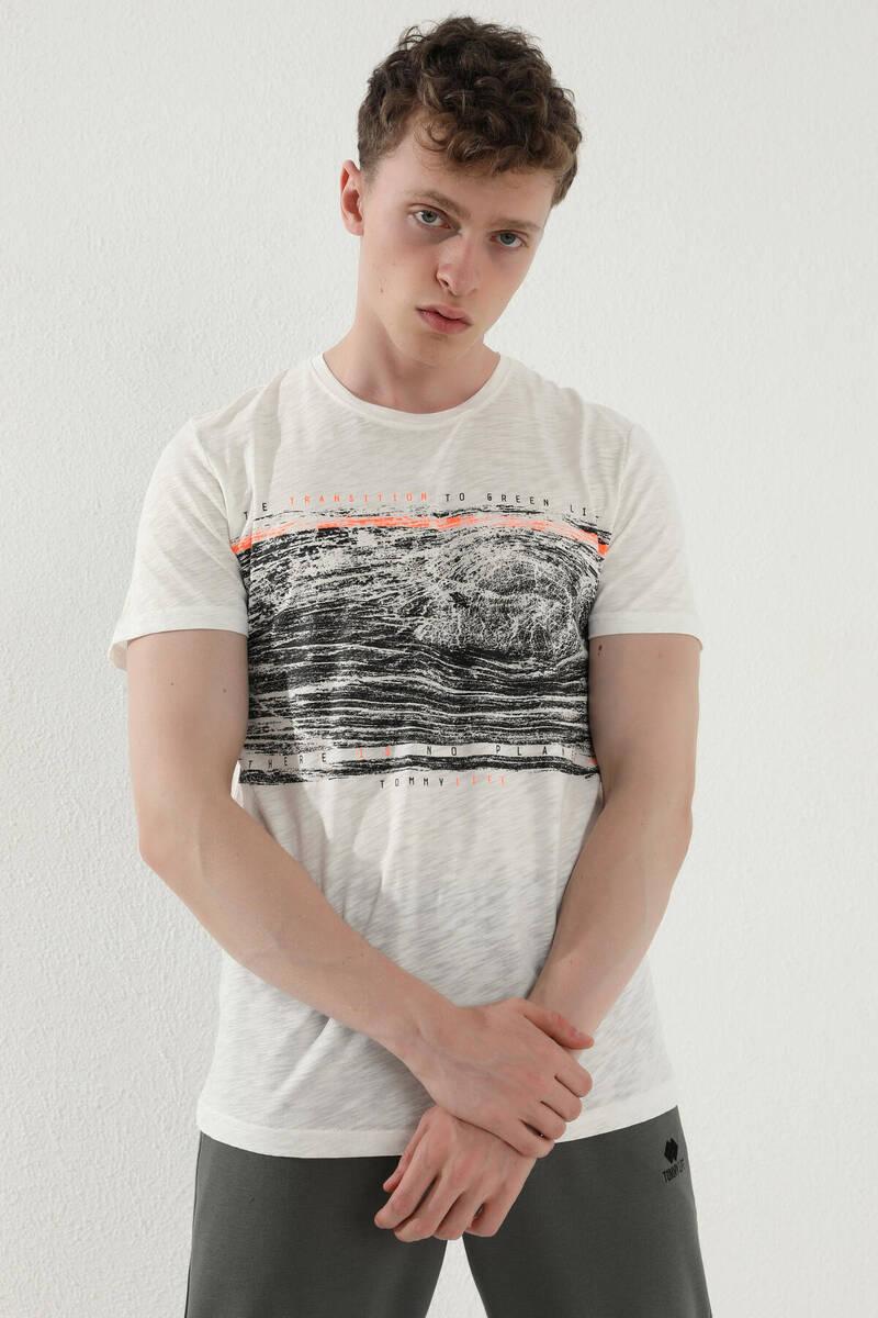 TommyLife - Tommy Life Toptan Ekru Erkek Karışık Deforme Şerit Baskılı Standart Kalıp O Yaka T-Shirt - 87931
